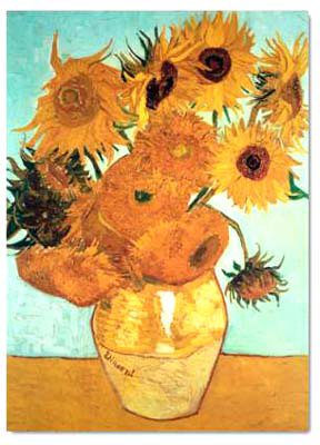 Sunflowers on blue by Vincent Van Gogh02