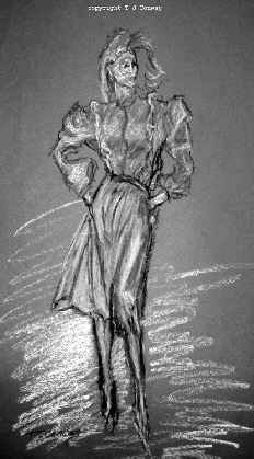 1980s fashion,  original clothing design. Model wearing knee length skirt with pockets, bouse with shoulder pads.