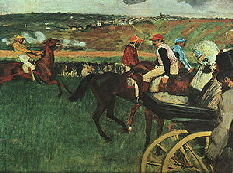 Edgar Degas painting At the Races