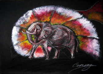 elephant painting by Tom Conway