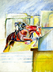 horse art | A painting of a horse and rider, 'The equestrian'  by T J Conway