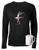 Ladies long sleeve top with ballet design