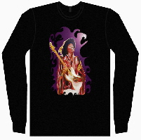 Jimi hendrix t shirt , original artwork designs for clothing by Tom Conway