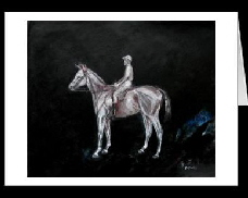 race horse and jockey  greeting card