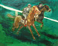 horse art . pop art style painting of two race horses