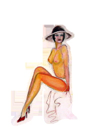 pinup girl art, Classic pin up girl pose, painting of a single nude model in a hat and red stiletto shoes by T J Conway