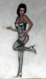 lingerie model. Drawing of a lingerie model in corset stockings and suspenders.