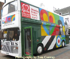 Photo of livery on the peter blake art bus