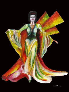 figurative art, girl in elegant pose , The Phoenix by T J conway