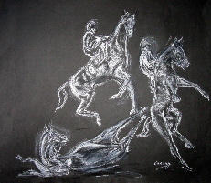 horse art. Drawings of a rearing horse with rider
