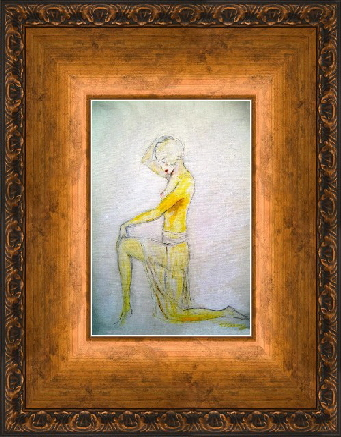Painting  in copper bronze frame, nude art by T J Conway.