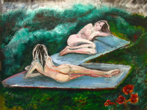 painting of  two  nude female models  against green setting.