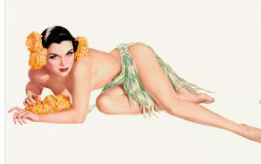 varga girl, pinup art  by Alberto Vargas, white background with yellow flowers in her hair.
