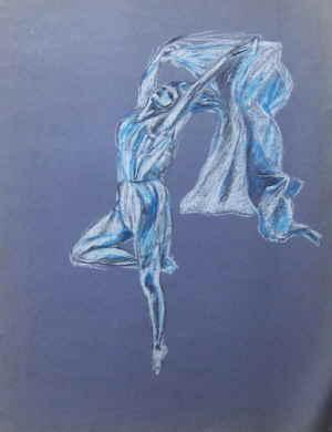 Blue Ballerina , pastel art work of a dancer