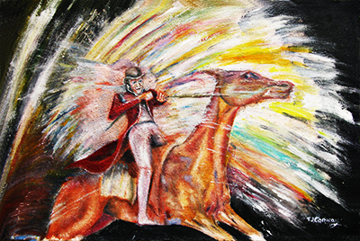 horse and rider painting by artist Tom Conway titled jump the rainbow