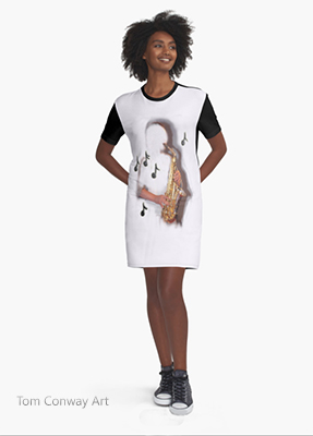 saxophone jazz music inspired dress  40002
