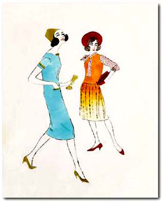 two female fashion figures, art print by Andy warhol02
